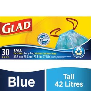Sacs à déchets bleus Glad Nouez-Jetez boite 30 24 x 28 (W)