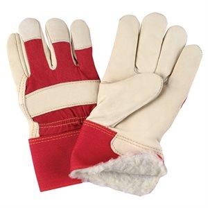 Gants d'ajusteur en cuir fleur de vache doublés lisses mouton imperméables / pr boa / acrylique (rouge)