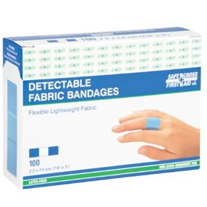 """Bandages Détectables bleu bte / 100 1"""" x 3"""" (S)"""