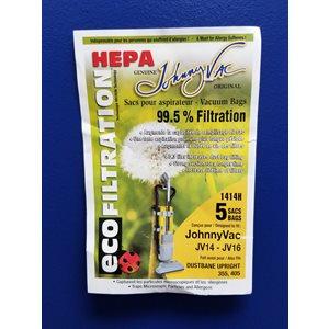 Sacs microfiltre Hepa 1414H pour aspirateur JV14 et JV16 pqt / 5
