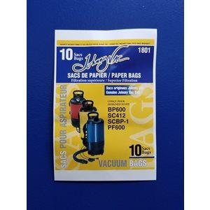 Sacs en papier 1801 pour aspirateur Dorsal BP-600 pqt / 10 (JV)