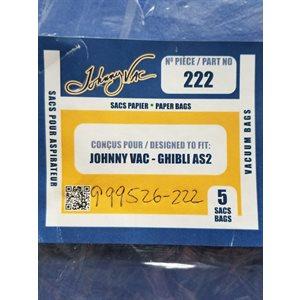 Sacs en papier pour aspirateur Johnny Vac AS2 pqt / 5