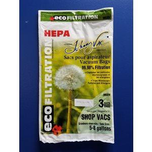 Sacs microfiltre Hepa 90532H pour aspirateur Shop Vac 5 à 8 gallons pqt / 3 (J)
